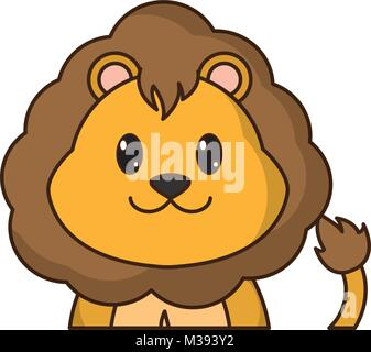 adorable lion cute animal character - Stock Photo