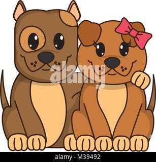 couple dog cute animal together - Stock Photo
