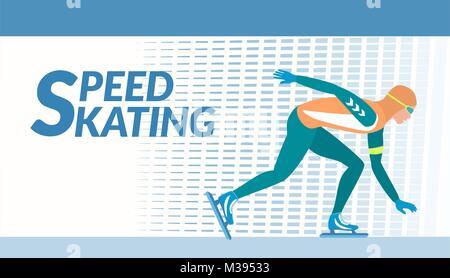 Winter sport - Speed skating. - Stock Photo