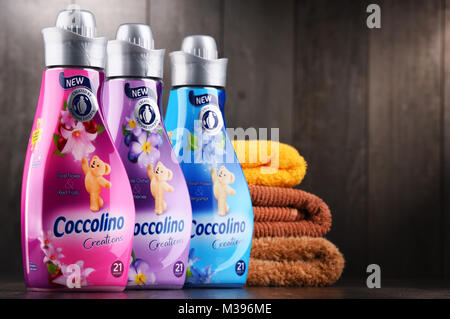 POZNAN, POLAND - DEC 14, 2017: bottles of liquid Coccolino fabric softener owned by Unilever, a British-Dutch transnational - Stock Photo