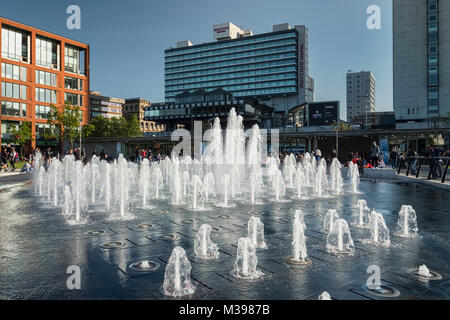 Fountain at Piccadilly Gardens, Manchester, Greater Manchester, England, UK - Stock Photo
