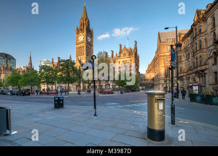 Manchester Town Hall and Gold Post Box, Albert Square, Manchester, Greater Manchester, England, UK - Stock Photo