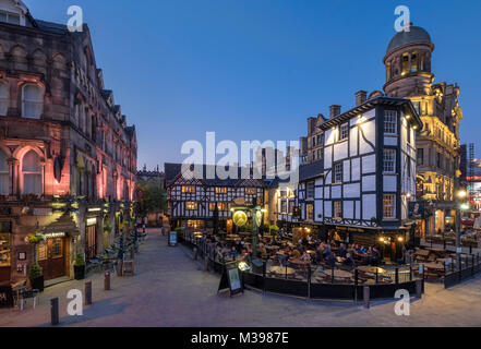 The Shambles and Shambles Square at night, Manchester, Greater Manchester, England, UK - Stock Photo