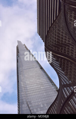 contemporary and abstract architecture at the shard office building and saint thomas's hospital in central london - Stock Photo