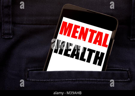 Word, writing Mental Health. Business concept for Anxiety Illness Disorder Written phone mobile phone, cellphone - Stock Photo