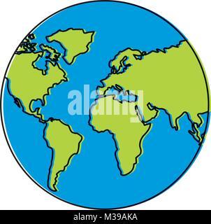 earth planet world globe map icon - Stock Photo