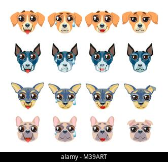 Set of different breeds of dogs Emoji Emoticon Expression - Stock Photo
