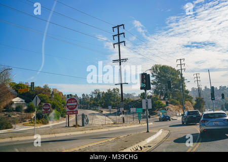 Los Angeles, DEC 31: Big sign of Do Not Enter Wrong Way on DEC 31, 2017 at Los Angeles, California - Stock Photo