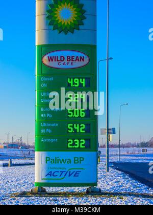 Prague, Czech Republic - December 30, 2017: Roadside sign for BP petrol station - Stock Photo