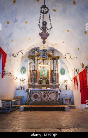 Altar of Church of Our Lady of Remedy on the slope of Saint John mountain above Old Town of Kotor town in Bay of - Stock Photo