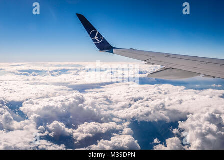 View from LOT Polish Airlines plane during flight above Montenegro - Stock Photo
