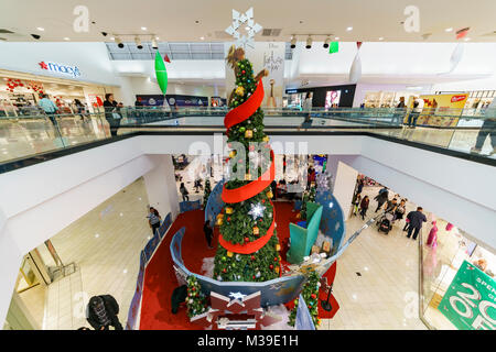 Glendale, DEC 16: Big christmas tree inside the mall on DEC 16, 2017 at Glendale, California - Stock Photo
