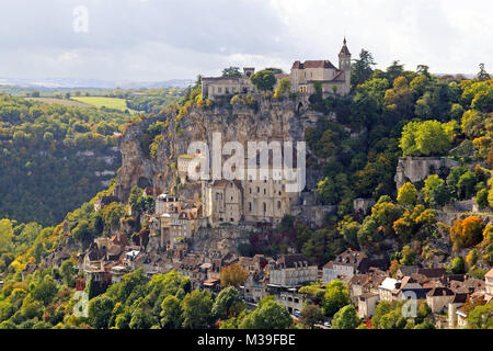 The mediaeval village of Rocamadour, taken from l'Hospitalet - Stock Photo