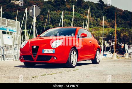 SISTIANA ,FVG, ITALY MAY 10, 2013: Photo of a  Alfa Romeo Mito 155cv Turbo at Sistiana,Friuli Venezia Giulia, Italy. - Stock Photo