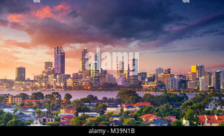 Perth. Panoramic aerial cityscape image of Perth skyline, Australia during dramatic sunset. - Stock Photo