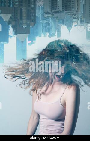 MODEL RELEASED. Composite image of screaming woman with urban stress against city background. - Stock Photo