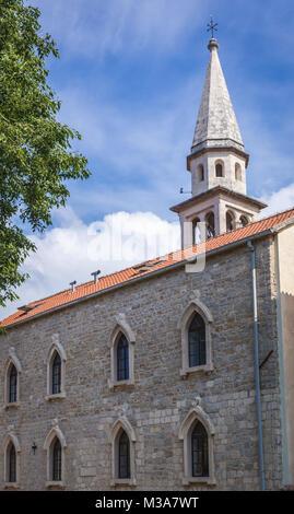 Saint John cathedral in Budva coastal town in Montenegro - Stock Photo