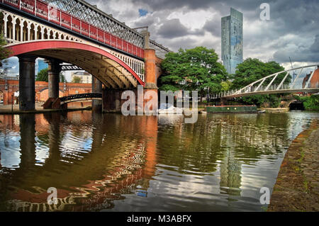 UK,Manchester,Castlefield,Bridgewater Canal & Beetham Tower in the distance - Stock Photo