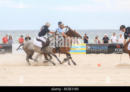 Adelaide Australia. 10th February 2018. Polo Teams  take part in the Pol Roger  Beach Polo match  between Jetty - Stock Photo
