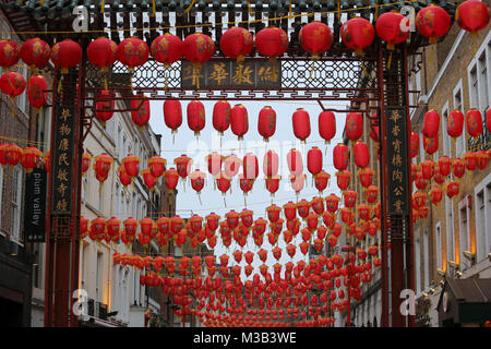 London UK 10 February 2018 Chinatown preparing to received the  new year of the dog ,red lanterns are already hanging - Stock Photo