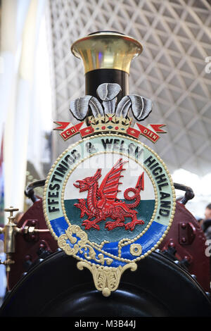 London, UK. 10th Feb, 2018. Steam engines on the Kings Cross passenger concourse in London, on Feb 10th 2018 Credit: - Stock Photo