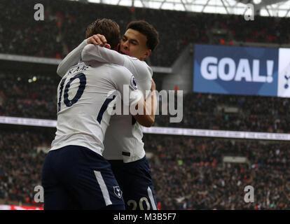 London, UK. 10th Feb, 2018. Dele Alli (TH) congratulates goalscorere Harry Kane (TH) (1-0) at the English Premier - Stock Photo