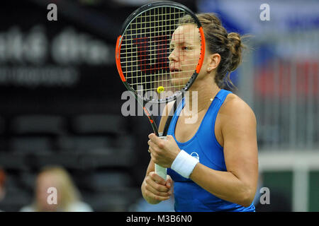 Prague, Czech Republic. 10th Feb, 2018. Czech tennis player Barbora Strycova during in their Fed Cup match between - Stock Photo