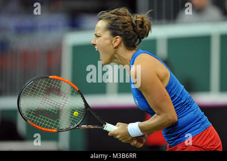 Prague, Czech Republic. 10th Feb, 2018. Czech tennis player Petra Kvitova celebrates after winning in their Fed - Stock Photo