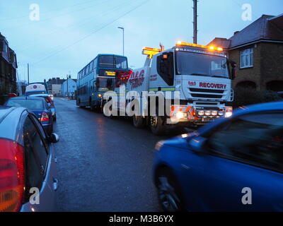 Sheerness, Kent, UK. 10th Feb, 2018. A broken down Arriva double decker bus caused an obstruction in Marine Parade. - Stock Photo