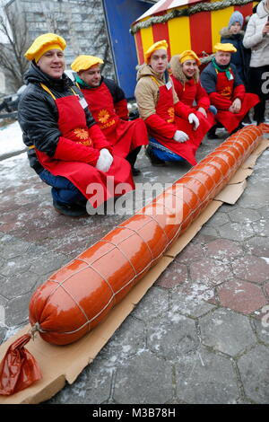 Kaliningrad, Russia. 10th Feb, 2018. KALININGRAD, RUSSIA - FEBRUARY 10, 2018: A sausage weighing 130kg with a diameter - Stock Photo