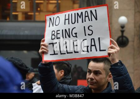 Manhattan, New York, USA. 10th Feb, 2018. Hundreds of demonstrators and immigrant rights activists gathered in midtown - Stock Photo