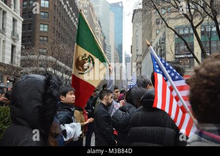New York, USA. 10th February, 2018. New Yorkers gathered on 34th street during Immigrant Rally to raise their voice - Stock Photo
