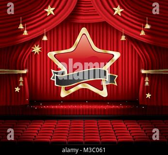 Red Stage Curtain with Star, Seats and Copy Space. Vector illustration. Theater, Opera or Cinema Scene. Light on - Stock Photo