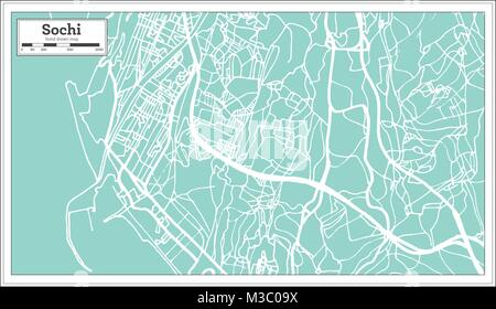Sochi Russia City Map in Retro Style. Outline Map. Vector Illustration. - Stock Photo