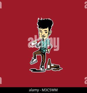 minimal logo of wine lover boy vector illustration - Stock Photo