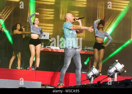Culcha Candela ( Hip-Hop-Band ) beim 94,3 rs2 Sommerfestival am 16. August 2014 in der Berliner  Kindl-Bühne Wuhlheide. - Stock Photo