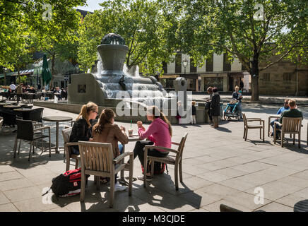 Sidewalk cafe, fountain at Kleppingstrasse, Dortmund, Ruhr area, North Rhine-Westphalia, Germany - Stock Photo