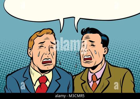 Two men friends crying. Comic cartoon pop art illustration retro vintage kitsch vector - Stock Photo