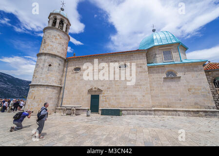 Church on Our Lady of the Rocks Island, one of the two islets of the coast of Perast town in the Bay of Kotor, Montenegro - Stock Photo