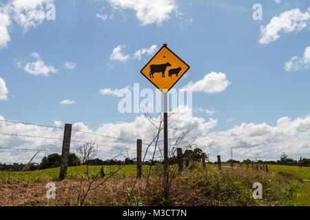 Australian countryside. Livestock warning road sign near the property. Sunshine coast, Queensland, Australia - Stock Photo