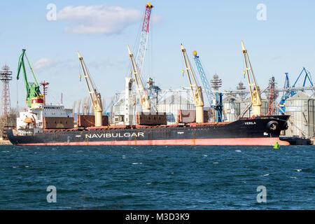 sea tanker NAVIBULGAR in the port of bulgaria 09.02.2018 - Stock Photo