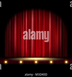 theatrical scene with red curtain - Stock Photo
