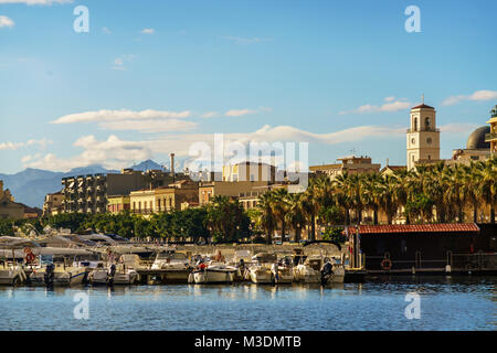 View of the town of Milazzo from the sea, Sicily, Italy - Stock Photo