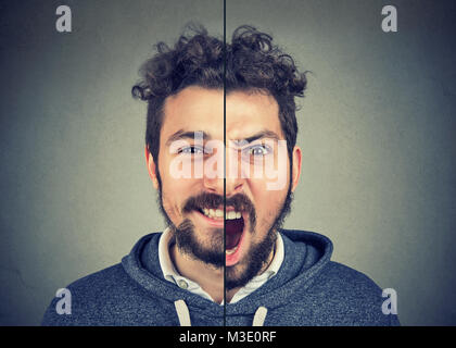 Bipolar disorder concept. Young man with double face expression isolated on gray background - Stock Photo