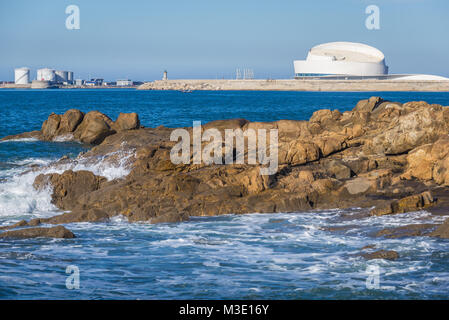 Port of Leixoes new Cruise Terminal building on background in Matosinhos, Portugal - Stock Photo