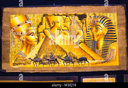 Sharm el Sheikh, Egypt - September 23, 2017: The papyrus with elements of egyptian history - objects displayed in - Stock Photo