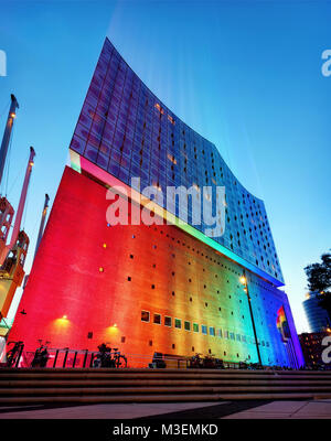 Elbphilharmoni Sunset Hamburg Germany taken in 2015 - Stock Photo