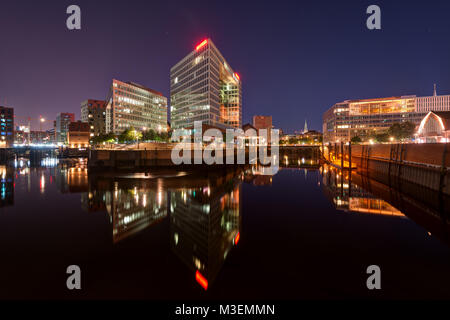Spiegel Building in Hafencity, Hamburg, Germany at Night. Taken on the 5th of August 2017. taken in 2017 - Stock Photo