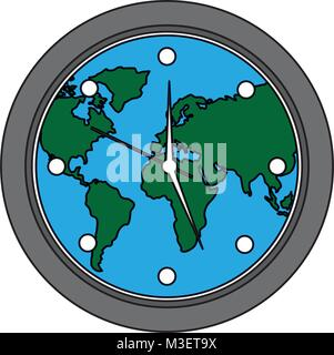 Round clock on world map stock vector art illustration vector round clock on world map stock photo gumiabroncs Image collections