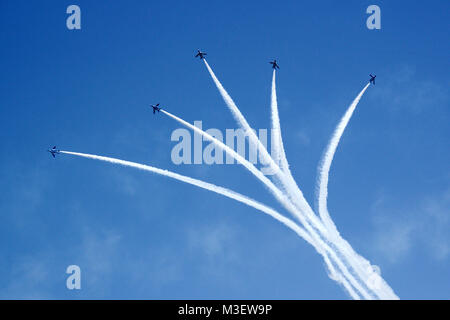 Formation flight of the air force aerobatic team at blue-impulse of japan - Stock Photo